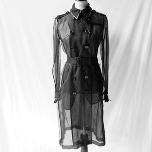 Burberry Sheer Black Silk Trench Coat 8 NWTs